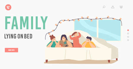 Family Lying on Bed Landing Page Template. Happy Sparetime, Mother with Teen Children and Little Baby Under Blanket