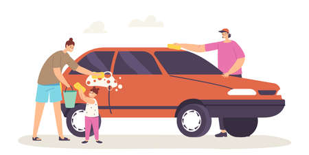 Happy Family Characters Mother, Father and Little Daughter Wash Car Isolated on White Background Weekend Chores Иллюстрация
