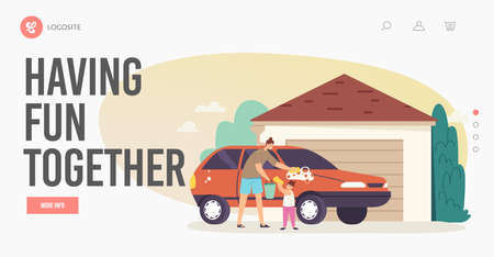 Family Having Fun Together Landing Page Template. Mother and Daughter Lather Auto, Characters Wash Car at Cottage Иллюстрация