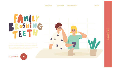 Kids Brushing Teeth Landing Page Template. Happy Family Characters with Toothbrush and Paste Dental Hygiene Procedure