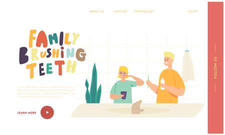 Children Morning Routine Landing Page Template. Kids Brushing Teeth, Happy Brother and Sister Family Character Hygiene Stock Illustratie