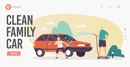 Family Clean Car Landing Page Template. Happy Characters Father and Little Son Having Fun, Splashing Water from Hose
