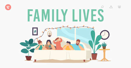 Family Lives Landing Page Template. Characters Mother, Father and Kids Lying Under Blanket on Bed in Cozy Room