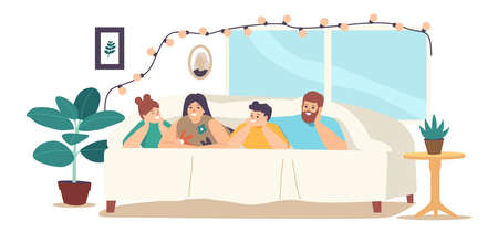 Happy Family Sparetime, Sweet Life Moments. Parents and Children Relax at Home. Characters Lying Under Blanket on Bed Иллюстрация