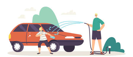 Happy Family Characters Father and Little Son Having Fun, Splashing Water from Hose while Washing Car at Cottage Yard Иллюстрация