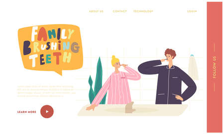 Couple Characters Morning Hygiene Landing Page Template. Young Woman and Man Stand in Bathroom and Brushing Teeth