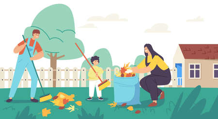 Happy Mother and Sons Garden Clean Up Works. Family Characters Cleaning Backyard Having Fun All Together, Collect Leaves