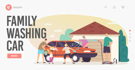 Family Washing Car Landing Page Template. Happy Characters Wash Auto at Back Yard. Weekend Chores, Household Activity