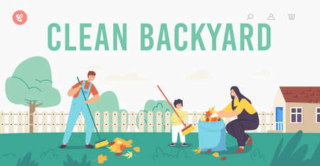 Landing Page Template. Happy Mother and Sons Garden Clean Up Works. Family Characters Cleaning Backyard Having Fun