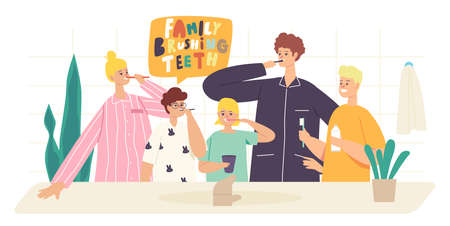 Happy Family Characters Brush Teeth. Parents and Children Dental Care, Oral Hygiene in Bathroom. Mother, Father and Kids