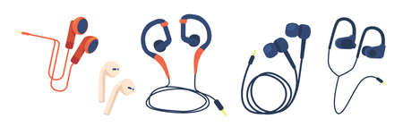 Set of Earbuds for Smartphone and Electronic Devices, Headphones, Wired and Wireless Earphones, Audio Equipment