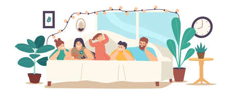 Family Characters Mother, Father and Kids Lying Under Blanket on Bed in Cozy Room Decorated with Lighting Garland