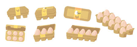 Set of Eggs in Carton Closed and Open Boxes, Farmer Production, Organic Farm Food Design Elements, Icons for Market