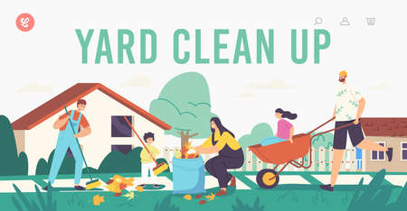 Yard Clean Up Landing Page Template. Happy Family Characters Cleaning Backyard Having Fun All Together, Collect Leaves