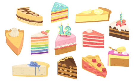 Set Birthday Cakes Dessert Pieces with Candles, Fruits or Berries. Confectionery Sweet Production Pies, Pastry, Bakery Иллюстрация