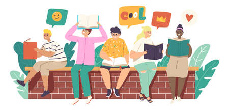 Kids Reading Stories, Children or Teens Sitting on Brick Wall with Books. School Education, Knowledge Concept Иллюстрация