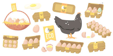 Set Eggs Farmer Production, Organic Farm Food Design Elements, Icons for Market Place, Store or Shop. Poultry Production