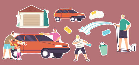 Set of Stickers Family Wash Car. Characters Weekend Chores, Household Activity. Mother, Father and Children Clean Auto Stock Illustratie
