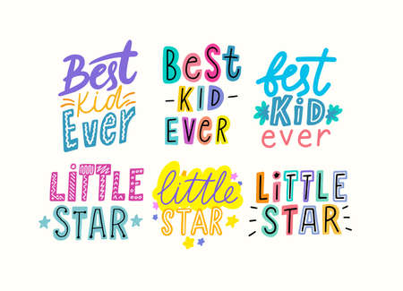 Best Kid Ever, Little Star Cartoon Lettering, T-Shirt Prints Design for Baby Apparel, Bright Phrases, Graphic Elements