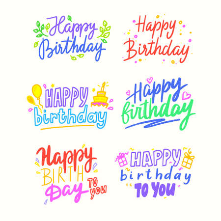 Happy Birthday Cartoon Lettering, Colorful Phrases for Greeting Card with Balloons, Cakes and Gift Boxes. Holiday