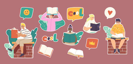 Set of Stickers Kids Reading Stories, Children or Teens Sitting on Brick Wall with Books. School Education, Knowledge Stock Illustratie
