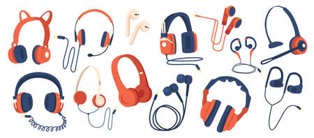 Set of Headphones, Wired and Wireless Earphones, Audio Equipment for Music Listening. Earbuds for Smartphone Isolated Stock Illustratie