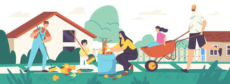 Happy Family Characters Parents and Children Cleaning Backyard Having Fun All Together, Collecting Fallen Autumn Leaves Stock Illustratie
