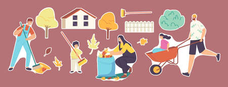 Set of Stickers Family Characters Cleaning Backyard, Collecting Fallen Autumn Leaves, Raking Garbage. Weekend Yardwork