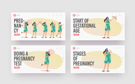 Female Pregnancy Stages Landing Page Template Set. Positive Test, Calendar Date, Growing Belly, Woman Child Delivery Stock Illustratie