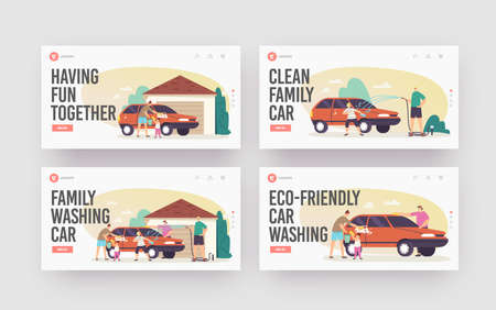 Family Wash Car Landing Page Template Set. Happy Characters Wash Auto at Back Yard. Weekend Chores, Household Activity Stock Illustratie