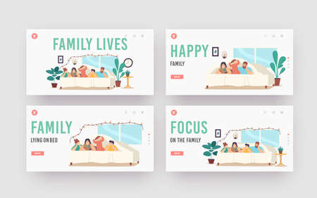 Family Lives Landing Page Template Set. Characters Mother, Father and Kids Lying Under Blanket on Bed in Cozy Room