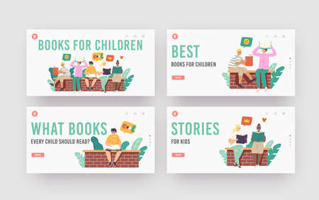 Books for Children Landing Page Template Set. Kids Reading Stories Sitting on Brick Wall. School Education, Knowledge