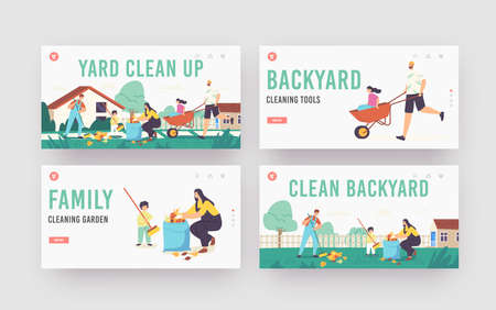 Yard Clean Up Landing Page Template Set. Family Characters Cleaning Backyard Having Fun All Together, Collecting Leaves