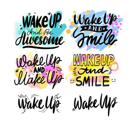 Wake Up and Smile Banner, Creative Typography with Cartoon Elements Isolated on White Background. Greeting Cards Stock Illustratie