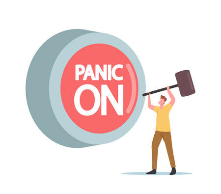 Panic Attack Concept. Tiny Male Character with Hammer Hit Huge Red Button Panic On. Mental Disorder, Disease, Anxiety