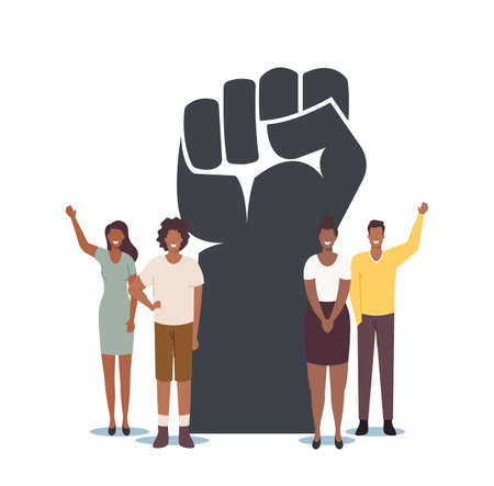 Black Lives Matter, Blm. Tiny Black Characters around of Huge Raised Hand. Equality Campaign Against Discrimination