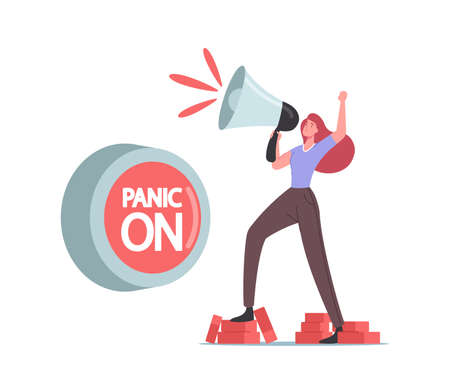 Panic Attack Concept. Tiny Female Character Stand on Bricks Yell to Loudspeaker at Huge Button Panic On. Mental Disorder Stock Illustratie
