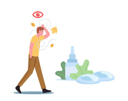 DES Medical and Pharmaceutical Concept. Male Character Walk Outdoor Suffering of Dry Eyes Syndrome and Conjunctivitis Stock Illustratie