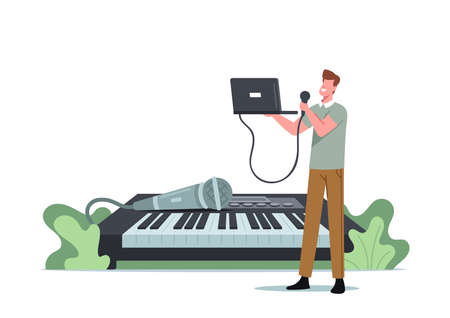 Tiny Male Character Sing with Microphone and Laptop at Huge Synthesizer. Man Take Vocal Lessons Training Voice