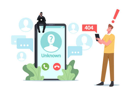 Cheater Prank, Scam Activity Concept. Tiny Fraud Character Sit on Huge Smartphone Call from Unknown Number to Subscriber