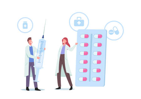 Tiny Doctor Characters in Medical Robe Holding Huge Syringe and Pills Medication Tablets in Blister. Disease Treatment