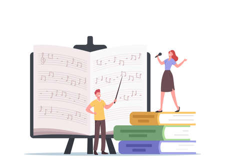 Tiny Characters Teacher with Pointer and Student Sing, Learn Notes Stand at Huge Textbooks. Vocalist Take Vocal Lessons