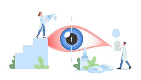 Tiny Doctors Characters Dripping Drops in Huge Human Eye Suffering of DES, Dry Eyes Syndrome and Conjunctivitis Disease
