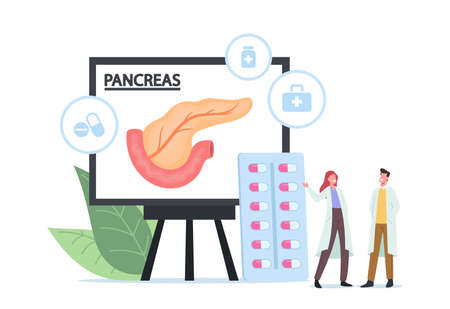 Pancreatitis Treatment Medical Concept. Tiny Doctor Characters in White Medical Robe Look on Huge Pancreas Infographics