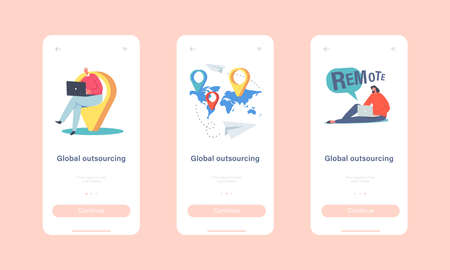 Global Outsourcing Mobile App Page Onboard Screen Template. Businesspeople Characters with Laptop Sitting at World Map Stock Illustratie