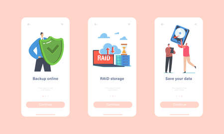 Backup Online, Raid Storage Mobile App Page Onboard Screen Template. Tiny Characters with Huge Protective Shield