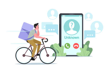 Courier Male Character Delivering Food Call on Client Smartphone from Unknown Number. Cafe or Restaurant Delivery Stock Illustratie