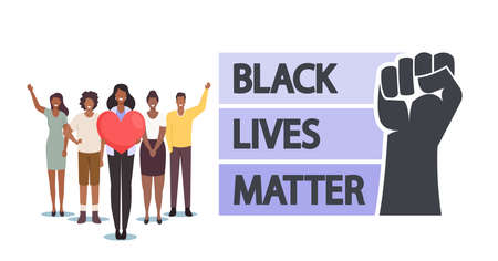 Black Lives Matter, Blm Concept. Black Skinned Characters with Heart and Raised Hands Together. Equality Campaign
