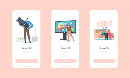 Smart Tv Mobile App Page Onboard Screen Template. Family Characters Sitting on Sofa at Home at Huge Television Set