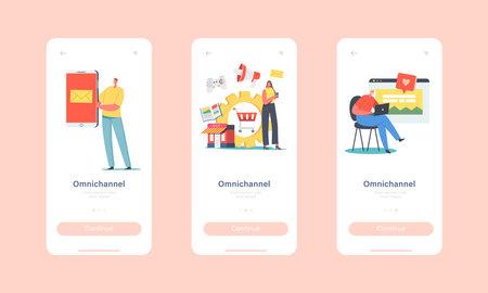 Omnichannel Mobile App Page Onboard Screen Template. Several Communication Channels, Digital Marketing, Online Shopping